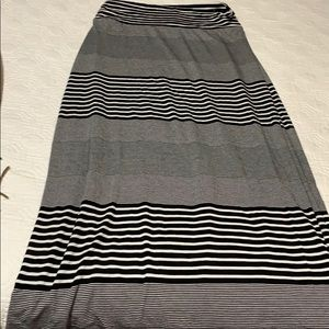 Long maxi skirt, size S black and white striped